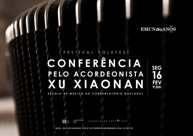 Conferência pelo acordeonista Xu Xiaonan